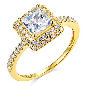 14k Halo 1.25 CT Princess-Cut & Round Side CZ Ring